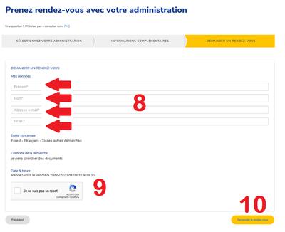 Prise de RDV en ligne écran 4 FR